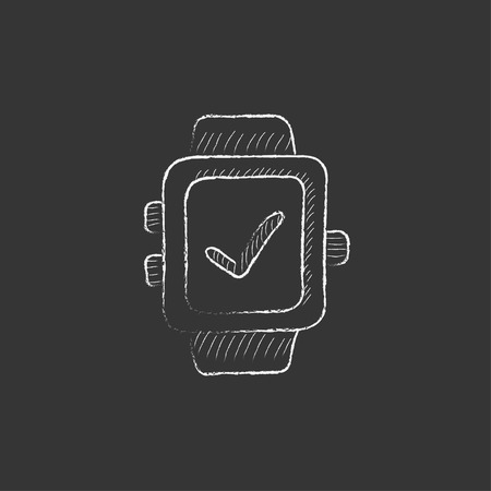 Smartwatch with check sign. Hand drawn in chalk vector isolated icon for web, mobile and infographics.