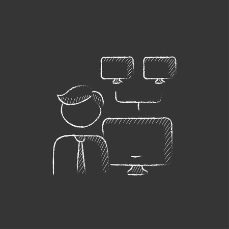 Man with linked monitors. Hand drawn in chalk vector isolated icon for web, mobile and infographics. Illustration