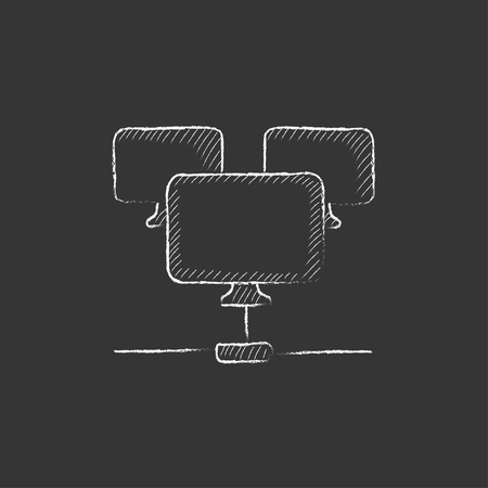 Group of monitors linked in a hierarchical network. Hand drawn in chalk vector isolated icon for web, mobile and infographics.