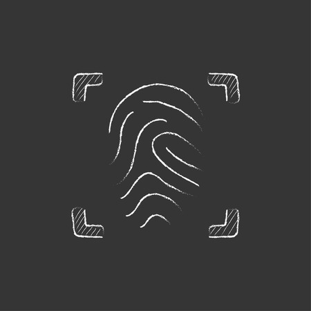 device: Fingerprint scanning. Hand drawn in chalk vector isolated icon for web, mobile and infographics.