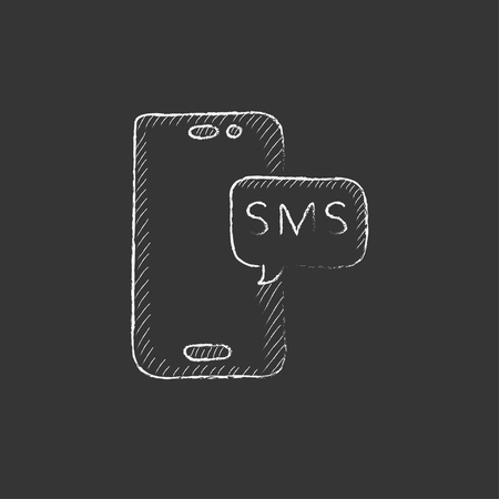 device: Smartphone with message. Hand drawn in chalk vector isolated icon for web, mobile and infographics.