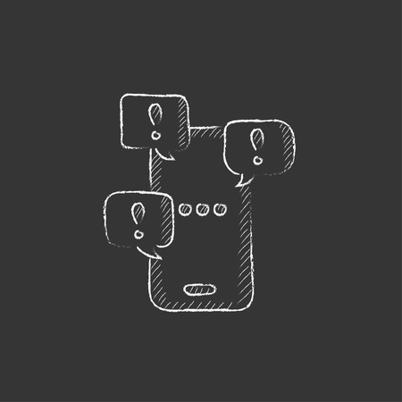 Touch screen phone with messages. Hand drawn in chalk vector isolated icon for web, mobile and infographics. Illustration