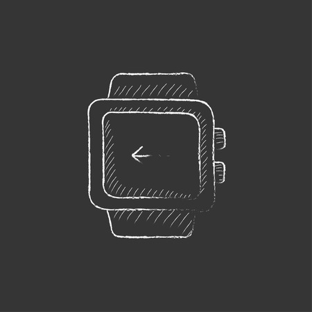 Smartwatch. Hand drawn in chalk vector isolated icon for web, mobile and infographics.