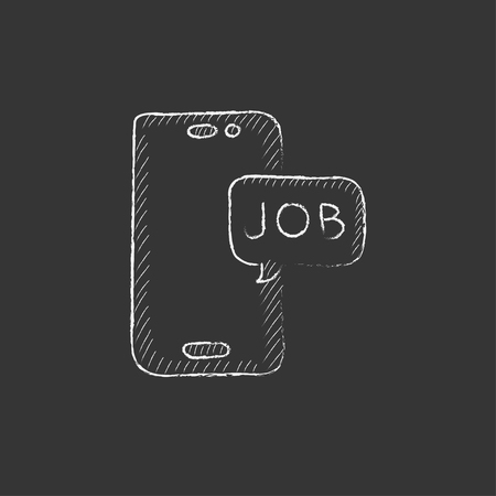 touch screen phone: Touch screen phone with message. Hand drawn in chalk vector isolated icon for web, mobile and infographics. Illustration