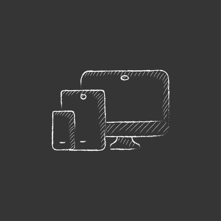 responsive design: Responsive web design. Hand drawn in chalk vector isolated icon for web, mobile and infographics.