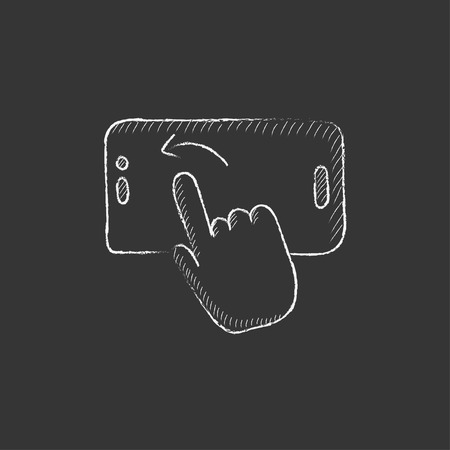 smartphone in hand: Finger touching smartphone. Hand drawn in chalk vector isolated icon for web, mobile and infographics.