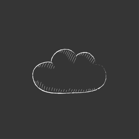 Cloud computing. Hand drawn in chalk vector isolated icon for web, mobile and infographics.
