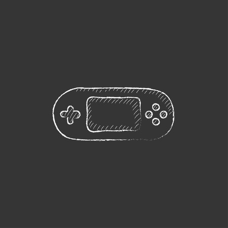 Game console gadget. Hand drawn in chalk vector isolated icon for web, mobile and infographics.