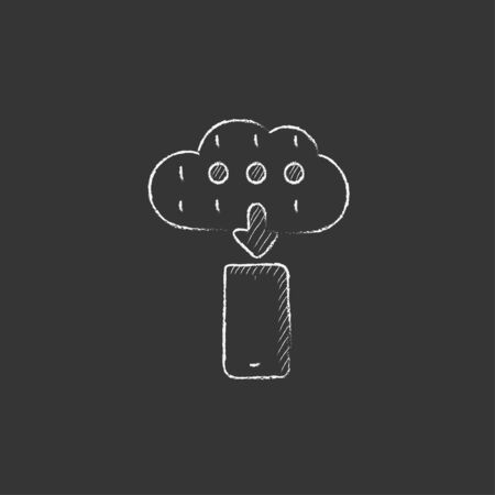 smartphone hand: Cloud and smartphone. Hand drawn in chalk vector isolated icon for web, mobile and infographics. Illustration