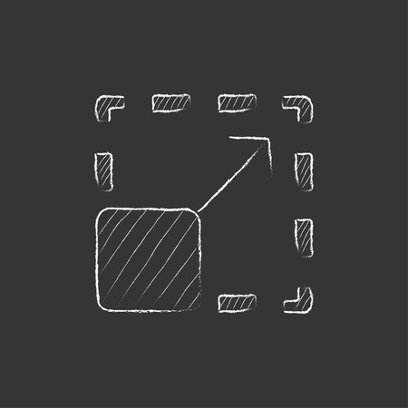 Scalability. Hand drawn in chalk vector isolated icon for web, mobile and infographics.