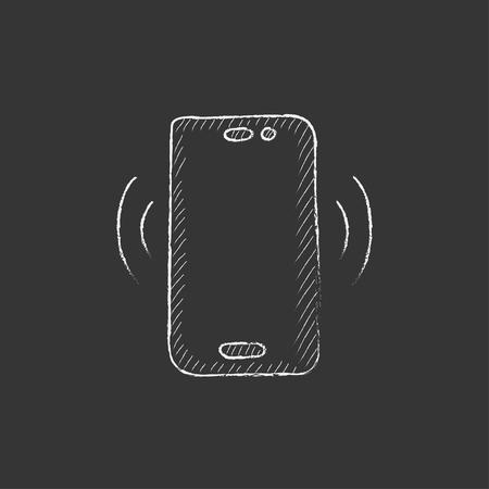 touch screen phone: Vibrating phone. Hand drawn in chalk vector isolated icon for web, mobile and infographics.