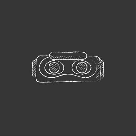 Virtual reality headset. Hand drawn in chalk vector isolated icon for web, mobile and infographics. Illustration