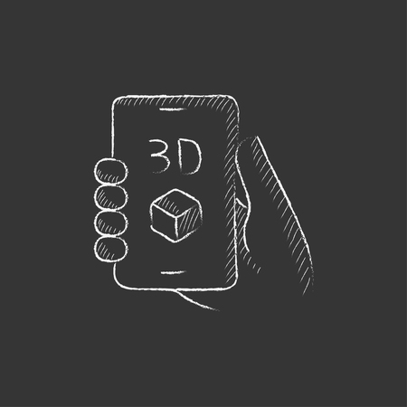three d: Smartphone with three D box. Hand drawn in chalk vector isolated icon for web, mobile and infographics. Illustration