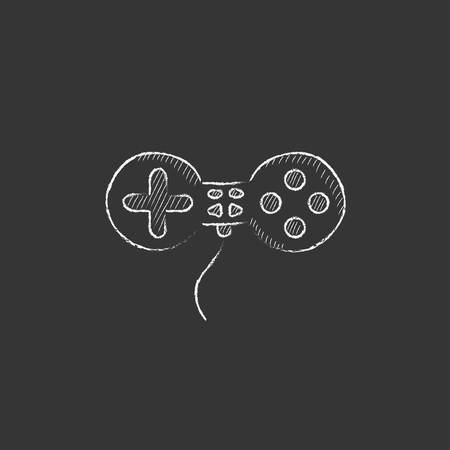 Joystick. Hand drawn in chalk vector isolated icon for web, mobile and infographics.