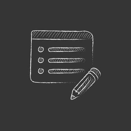 taking notes: Notepad and pencil. Hand drawn in chalk vector isolated icon for web, mobile and infographics.