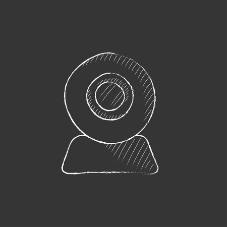 device: Web camera. Hand drawn in chalk vector isolated icon for web, mobile and infographics. Illustration