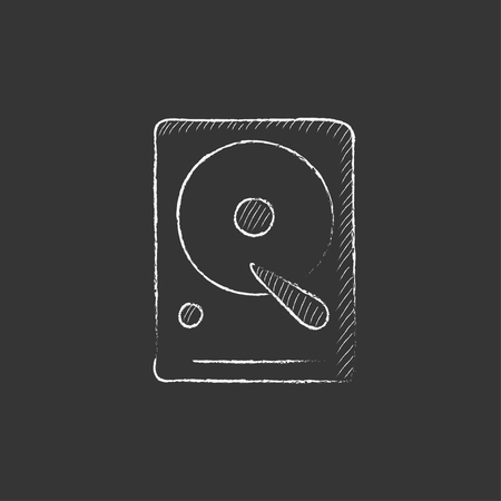 gigabyte: Hard disk. Hand drawn in chalk vector isolated icon for web, mobile and infographics.