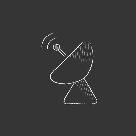 Radar satellite dish. Hand drawn in chalk vector isolated icon for web, mobile and infographics.