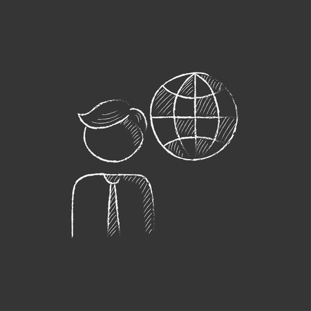globe hand: Man with globe. Hand drawn in chalk vector isolated icon for web, mobile and infographics. Illustration