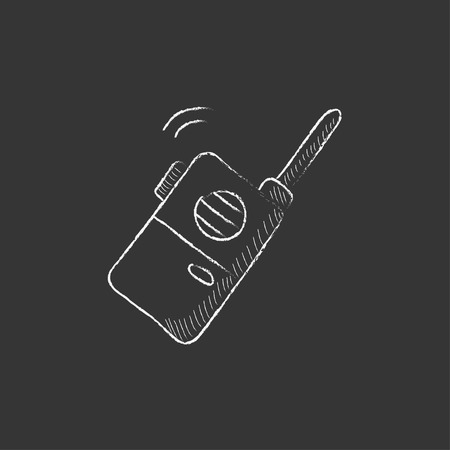 transmit: Portable radio set. Hand drawn in chalk vector isolated icon for web, mobile and infographics.