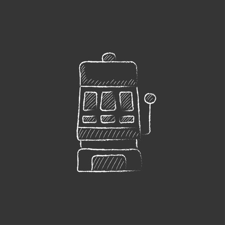 slot in: Slot machine. Hand drawn in chalk vector isolated icon for web, mobile and infographics. Illustration