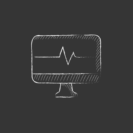 lcd display: Heart beat monitor. Hand drawn in chalk vector isolated icon for web, mobile and infographics.