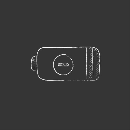 telephone pole: Low power battery. Hand drawn in chalk vector isolated icon for web, mobile and infographics.
