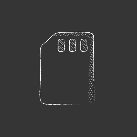 sim card: Sim card. Hand drawn in chalk vector isolated icon for web, mobile and infographics.