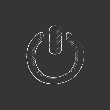 shut off: Power button. Hand drawn in chalk vector isolated icon for web, mobile and infographics. Illustration
