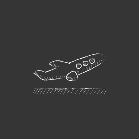 airplane travel: Plane taking off. Hand drawn in chalk vector isolated icon for web, mobile and infographics.