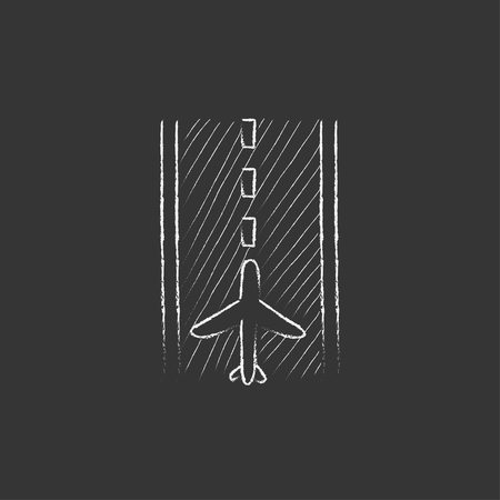 airport runway: Airport runway. Hand drawn in chalk vector isolated icon for web, mobile and infographics.