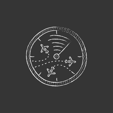 Radar screen with planes. Hand drawn in chalk vector isolated icon for web, mobile and infographics. Illustration