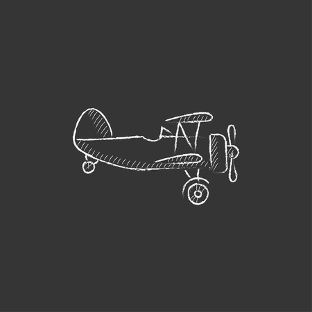 Propeller plane. Hand drawn in chalk vector isolated icon for web, mobile and infographics.