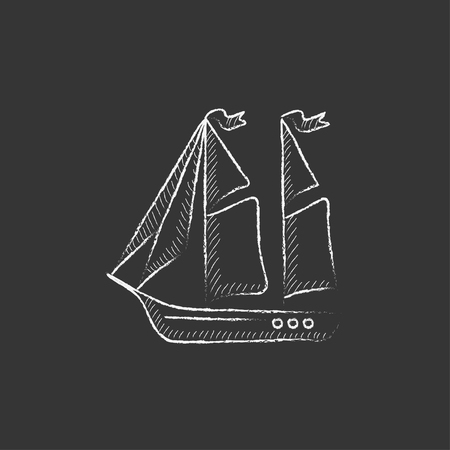 Sailboat. Hand drawn in chalk vector isolated icon for web, mobile and infographics. Illustration