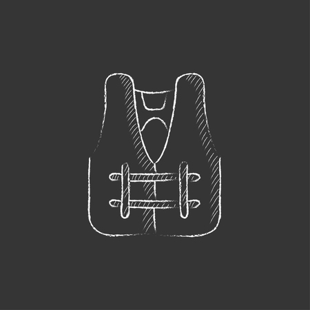 Life vest. Hand drawn in chalk vector isolated icon for web, mobile and infographics.