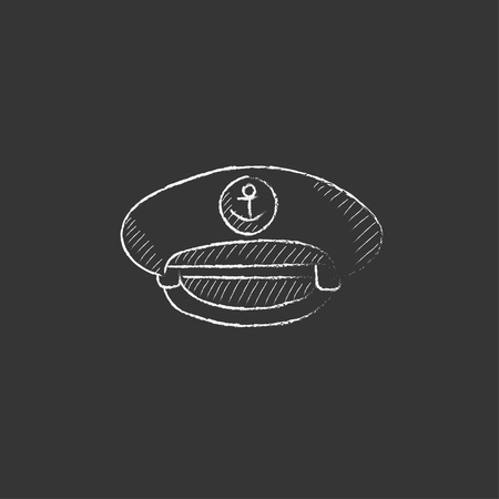 peaked: Captain peaked cap. Hand drawn in chalk vector isolated icon for web, mobile and infographics.