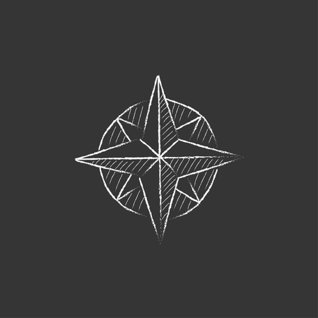 compass rose: Compass wind rose. Hand drawn in chalk vector isolated icon for web, mobile and infographics.