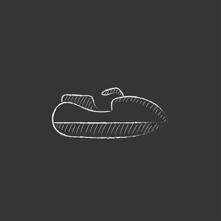 Jet scooter. Hand drawn in chalk vector isolated icon for web, mobile and infographics. 向量圖像