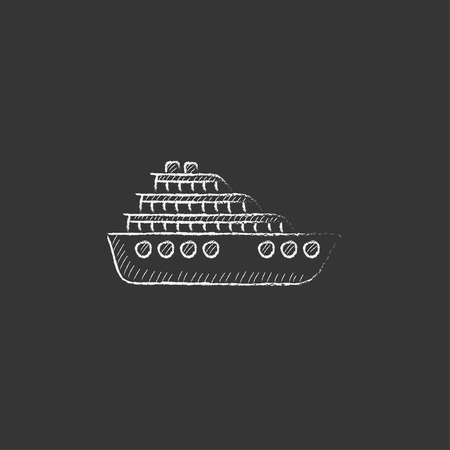 Cruise ship. Hand drawn in chalk vector isolated icon for web, mobile and infographics.