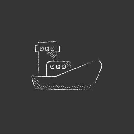 loading dock: Cargo container ship. Hand drawn in chalk vector isolated icon for web, mobile and infographics.