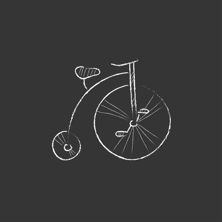 velocipede: Old bicycle with big wheel. Hand drawn in chalk vector isolated icon for web, mobile and infographics.