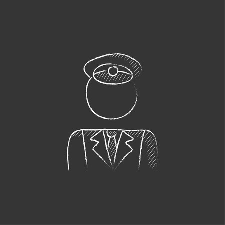 conductor: Conductor. Hand drawn in chalk vector isolated icon for web, mobile and infographics.