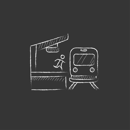 Latecomer man running along the platform to reach the train. Hand drawn in chalk vector isolated icon for web, mobile and infographics.