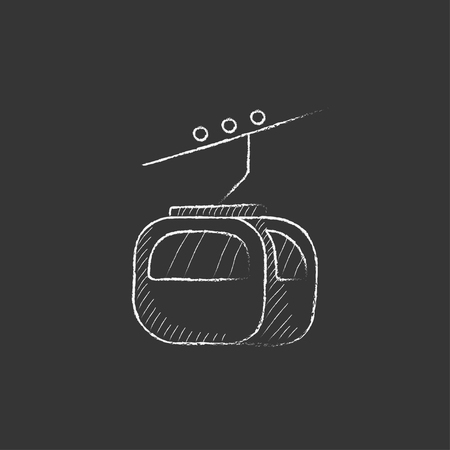 rope way: Funicular. Hand drawn in chalk vector isolated icon for web, mobile and infographics.