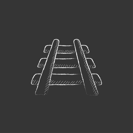 Railway track. Hand drawn in chalk vector isolated icon for web, mobile and infographics. Illusztráció