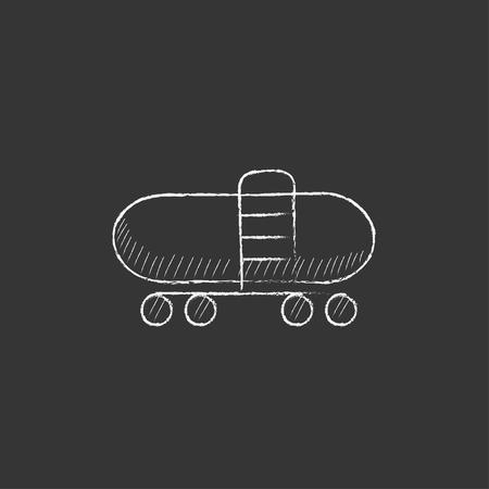 aljibe: cisterna de ferrocarril. Dibujado a mano en el icono de tiza vector aislado para web, móvil y la infografía.