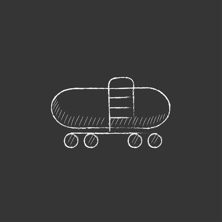 Railway cistern. Hand drawn in chalk vector isolated icon for web, mobile and infographics.