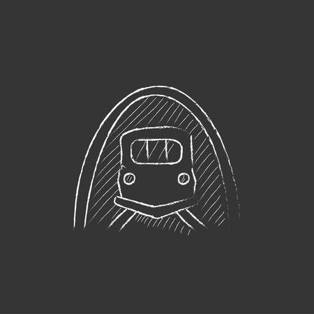thoroughfare: Railway tunnel. Hand drawn in chalk vector isolated icon for web, mobile and infographics.