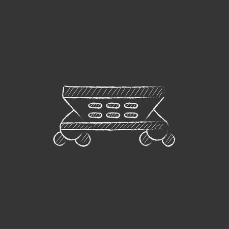 hand rails: Cargo wagon. Hand drawn in chalk vector isolated icon for web, mobile and infographics.