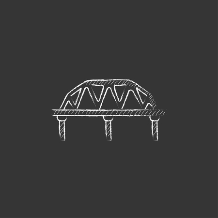 Rail way bridge. Hand drawn in chalk vector isolated icon for web, mobile and infographics.